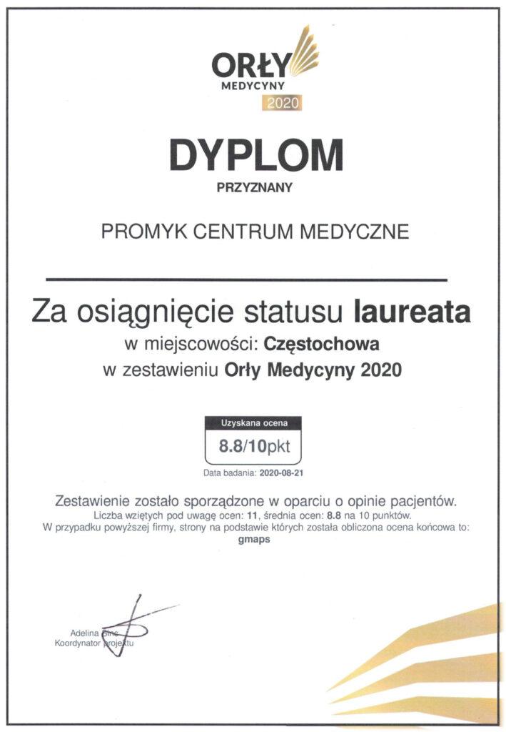 Dyplom Orły Medycyny 2020